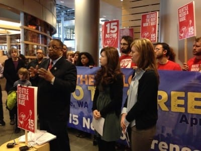 King County council member Larry Gossett at Monday's filing (Image: 15 Now)