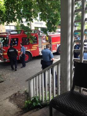 SPD and Seattle Fire respond to the aftermath of the afternoon chase (Image: @lazeruskennon via Twitter)