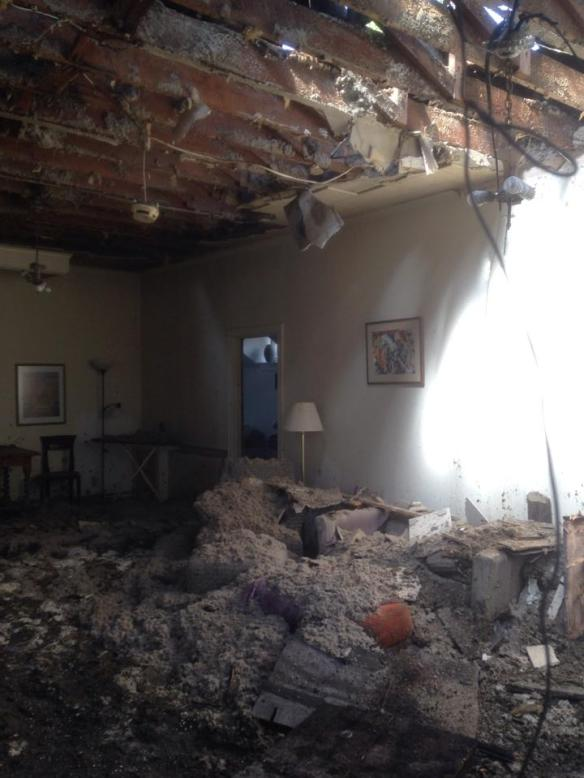 Inside the fire-damage PRAG House (Image via the PRAG House Facebook page)