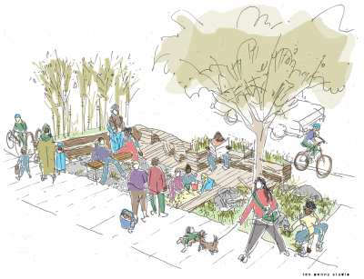 A sketch of the 25th and Union parklet's possible design