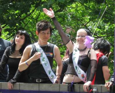 From the community council past, vice president Hong Chhuor and president Jen Power atop the Goth Pride float in 2009