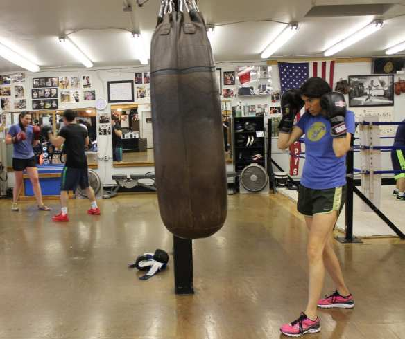 Ravel Scheiner eyes her rival during a training session at Cappy's Boxing Gym. (Photo: Peter Allen Clark)