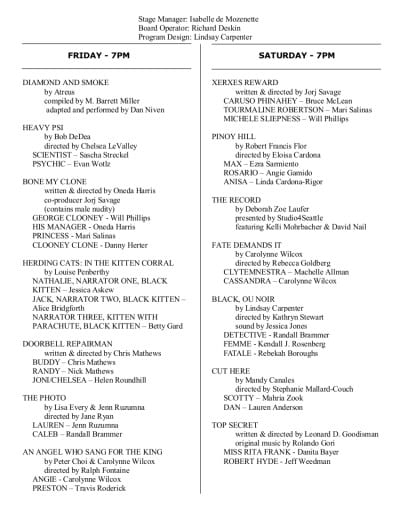 One-Act Play Festival, Eclectic Theater, 2014, program page 2