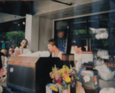 Sowers and Wood working the Cafe Solstice cart in front of the current Jai Thai space, circa 1994 -- from: After 12 years, Cafe Solstice returning to Broadway (Image: Picture of picture courtesy Joel Wood)
