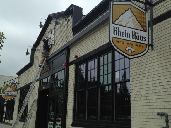 Rhein Haus signs went up Thursday afternoon (Photo: Bryan Cohen)