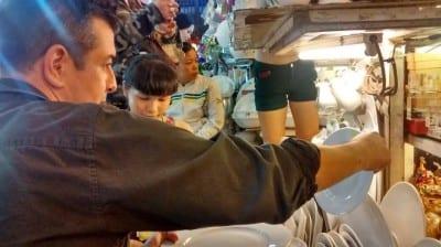 Cvetkovich shopping for dishware in Vietnam (Image: Nue via Facebook)