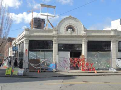 The former art supply store and Volvo dealership in early stages of Starbucks construction this spring (Image: CHS)