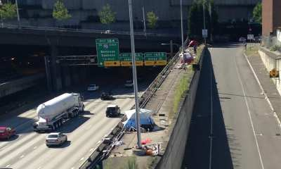 I-5 tents the day a man fell 50 feet and died (Images: CHS)