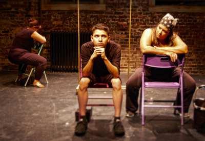 From a rehersal of q u e r e n c i a. From left to right, actors Pilar O'Connell, Matt Aguayo, and Anabel Hovig. (Image: Rebecca Tourino Collinsworth)