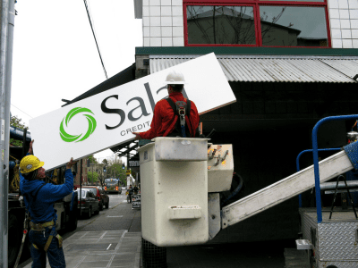 The Salal sign went up in 2010 as the Group Health Credit Union got a new brand (Image: Prima Seadiva via Flickr)