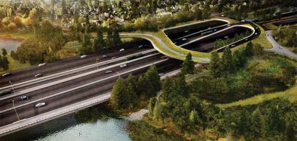 """The revised Montlake Lid design proposes a landbridge connection across SR 520,"" WSDOT says."