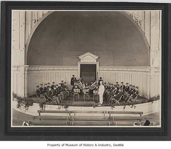 """""""Cavanaugh's City Band in Volunteer Park bandshell, Seattle, ca. 1905"""" (Image: Museum of History & Industry Photograph Collection)"""