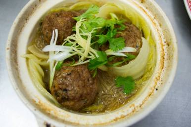 Lion's Head Meatballs with napa cabbage and glass noodles