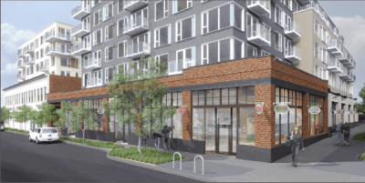 An artist rendering of how the old Madison Park Greetings building Erickson's project will call home is being integrated with new construction (Rendering by Ankrom Moisan)