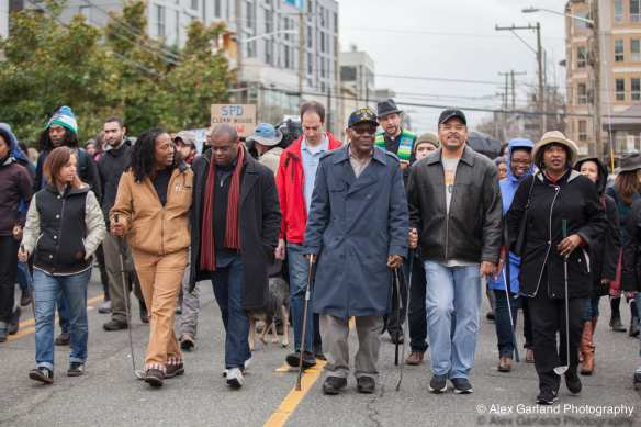 William Wingate joined Saturday's march calling for reform at SPD (Images: CHS)