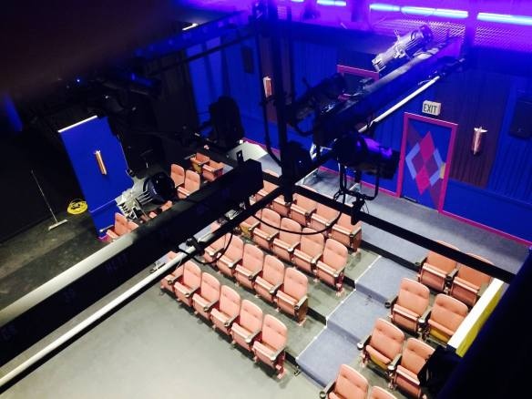 The set of The Flick as viewed from the catwalk inside 12th Ave Arts (Image: New Century Theater via Facebook)