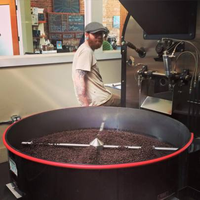 """Fraser at the helm of the roaster"" -- Victrola Coffee Roasters"