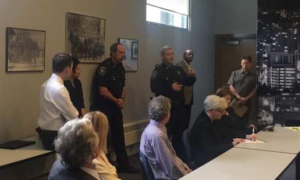 Capt. Paul McDonagh in what we *think* was his first public appearance as the new East Precinct commander Friday morning (Image: CHS)