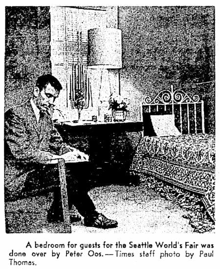 Peter Oos, Jr in his home at 1522 E Howe, newly prepped for guests visiting Century 21 in 1962. This was about the time he opened Peter's on Broadway.