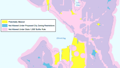 A city map from 2013 shows how the 1,000 foot buffer rule restricted most areas from I-502 shops.