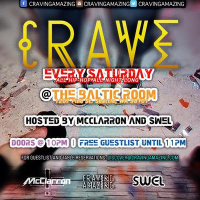 A promotion for Saturday night's weekly Crave night at the Baltic Room