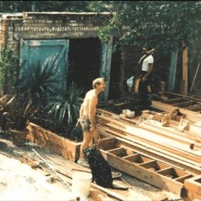 Working on the Gaslight Inn in 1990.