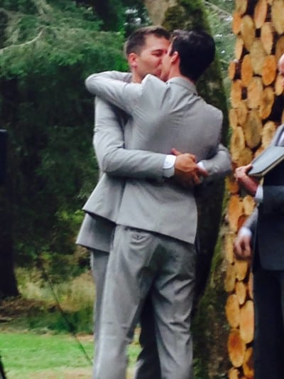 """""""The fellow owners and staff of Poquitos and Rhein Haus would like to wish owners Matt & Dustin a very happy wedding day! There is no truer definition of love than the one that they share and we are all so fortunate to be a witness to it each day #lovewins"""" (Image: Poquitos via Facebook)"""