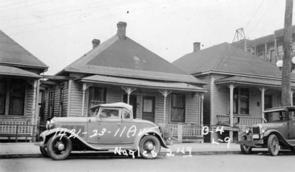 1421 to 1423 11th, 1937. This is what the grocery looked like originally, the southern two of the three. Image harvested from Brendan McKeon on HistoryPin, who scanned it at the Washington State Archives.