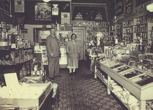 "Interior of one of Nunzio and Carmella Salle's groceries, c1930. Labeled ""13th and Pike"" in the Salle family history, it's either our store on 11th, or it's the other at 1408 E Pike."