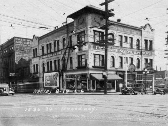 Here's the Booth Building in 1937 with Christiansen's Dancing School and Boy's Boxing. From McKeon's stash.
