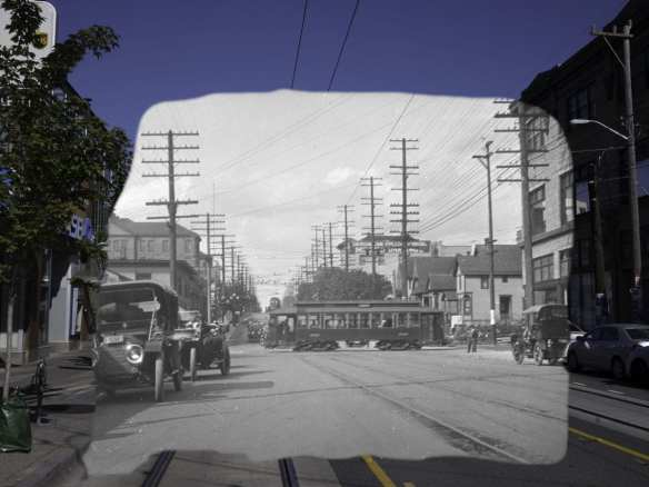 Looking up Broadway in about 1913, back when streetcars were uncomplicated.