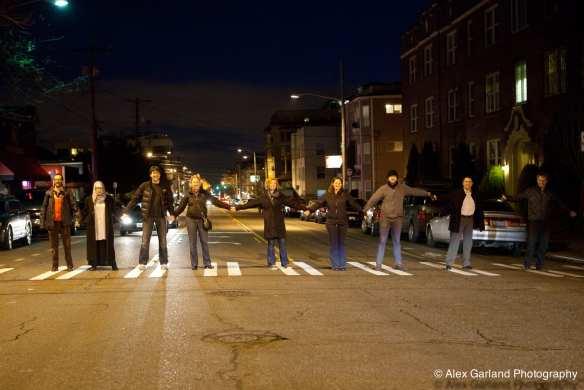 12th Ave neighbors celebrating a crosswalk victory