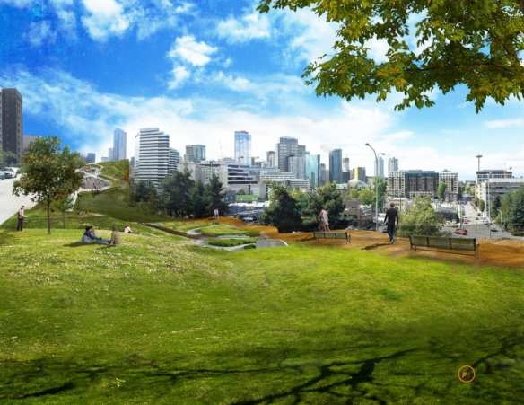 The plan from Patano Associates is a little bigger than Freeway Park -- about 40 acres bigger