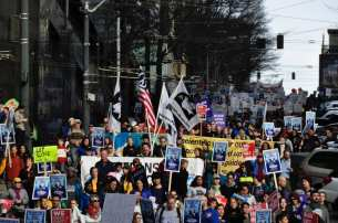 Images of the march downtown courtesy of Dennis Saxman