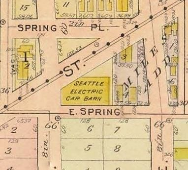 Map of Madison and Spring in 1912 showing car barn