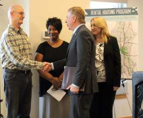 Korpela and Murray at a Housing Levy announcement earlier this year (Image: Seattle.gov)