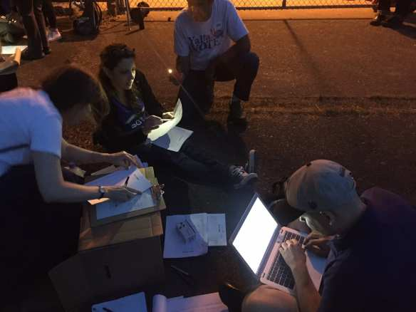 Caucus organizers in the 43rd District worked late to finalize the vote. (Image: 43rd District Democrats)