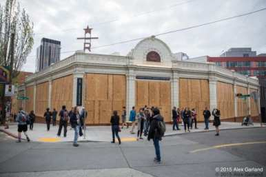 Scenes from May Day 2015. CHS is told to expect the Starbucks roastery to again be boarded up this Sunday (Images: CHS)
