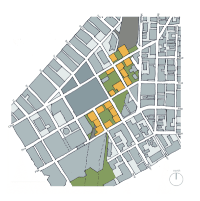 One concept for a lid includes reconnecting streets and filling in blocks with housing and green space.