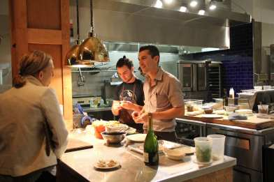 JJ Proville prepares a dish at Sunday night's party for Kickstarter backers (Images: CHS)
