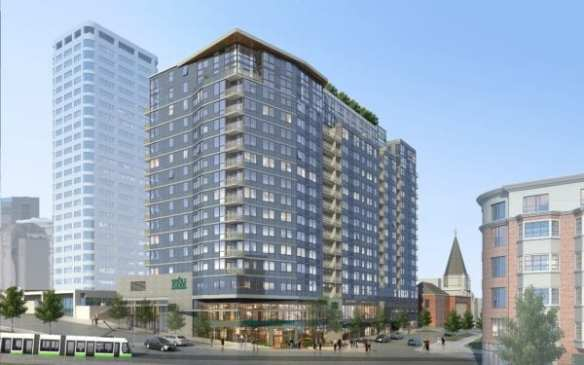 The Danforth, still rising, its anchor Whole Foods, still coming to Broadway and Madison