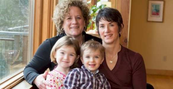 Charlene Strong, left, with wife Courteney Bealko and their children, Etta and Anders (Image: Elect Charlene Strong)