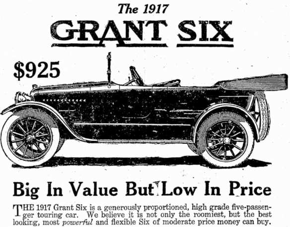 Cox Motor Car ad for Grant Six in 1916