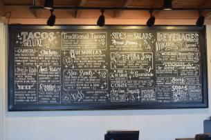 The menu at the original Rocket Taco