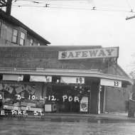 Circa 1926 grocery building which housed Piggly Wiggly after construction. 1326 East Pike St. Parcel 600300-0295. Courtesy Washington State Archives Puget Sound Regional Branch. Scanned by Brendan McKeon for a Seattle Architecture Foundation project.