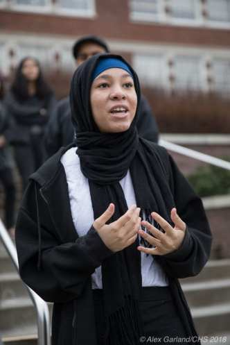 Khabirah Weddington speaks at Monday's rally