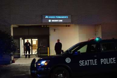 The victim was taken to Kaiser Permanente's 16th and Thomas urgent care