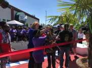 Mayor Durkan joined K. Wyking Garrett of the Africatown Community Land Trust at a ribbon-cutting this summer celebrating the new art at Midtown Center (Image: City of Seattle)