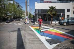 Melrose Ave's new 'Poem Dazzle' community crosswalks