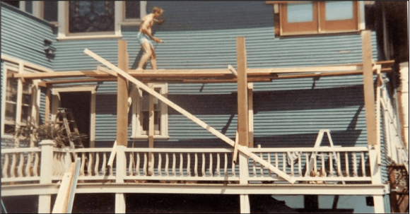 Working on the Gaslight Inn in 1990